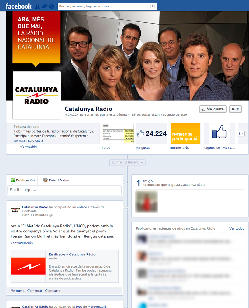Catalunya Ràdio en Facebook