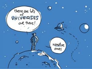 En esta viñeta, Montecarlo hace referencia a los múltiples universos narrativos que pueden idear las empresas