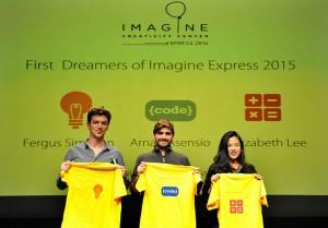La estudiante de EADA, Elizabeth Lee (derecha) junto a otros dos dremers del Imagine Express 2015, en la presentación de la edición en Barcelona.